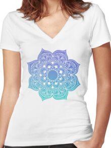 Mandala blue Women's Fitted V-Neck T-Shirt