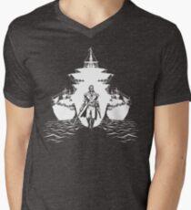 Waffen und Schiffe T-Shirt mit V-Ausschnitt
