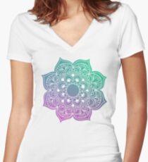 Mandala green purple Women's Fitted V-Neck T-Shirt