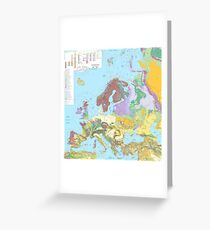 Geological Map of Europe  Greeting Card