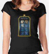 Phone booth with Yellow stained glass windows Women's Fitted Scoop T-Shirt