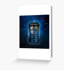 Phone booth with Yellow stained glass windows Greeting Card