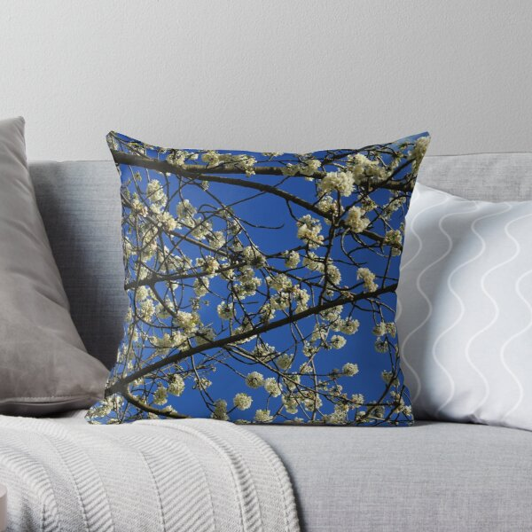The White and Blue of Spring Throw Pillow