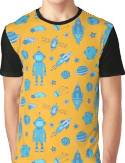 Blue and yellow Universe Graphic T-Shirt