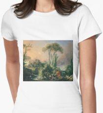 Francois Boucher - River Landscape With An Antique Temple Women's Fitted T-Shirt