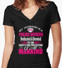 Pennsylvania Police Officer Gifts for Wife State Trooper Pennsylvania Cop Women's Fitted V-Neck T-Shirt
