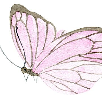 One little pink butterfly, watercolour painting by Mindreader