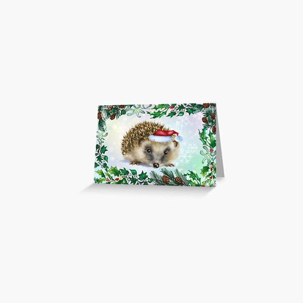 Hedgehog Festive card Greeting Card