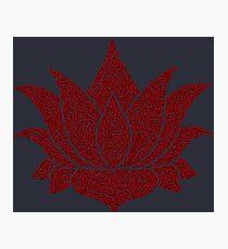 Lotus Doodle - Dark Red Photographic Print