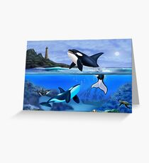 THE ORCA FAMILY Greeting Card