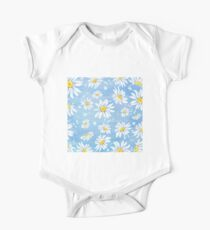White chamomile daisies on blue art paper, watercolour painting One Piece - Short Sleeve