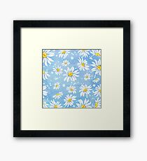 White chamomile daisies on blue art paper, watercolour painting Framed Print