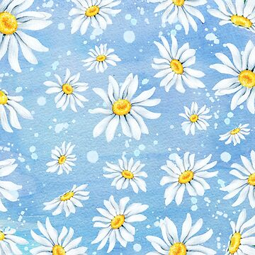 White chamomile daisies on blue art paper, watercolour painting by Mindreader