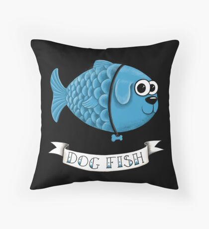 Dog Fish Throw Pillow