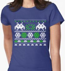 Funny Ugly Christmas Holiday Sweater Design Womens Fitted T-Shirt