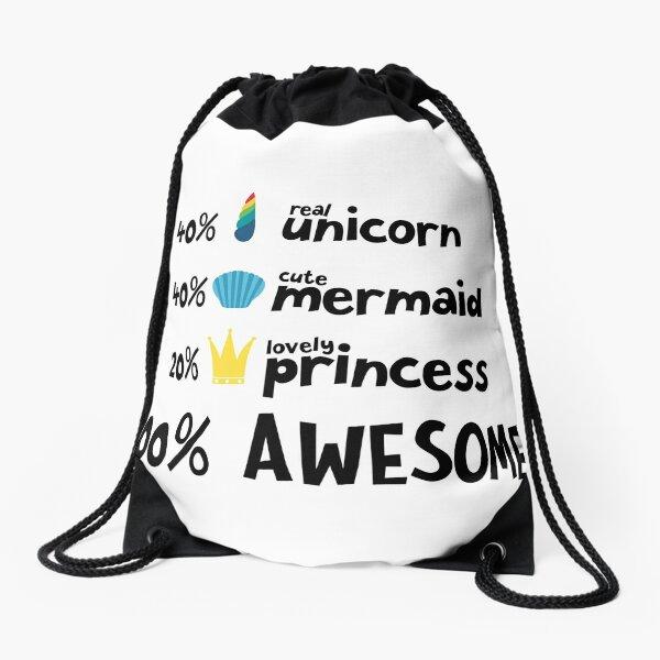 Unicorn mermaid and princess Ra3ds Drawstring Bag
