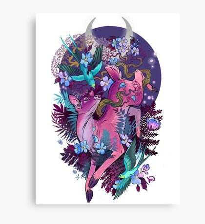 Mystic Midnight Pink White Tail Doe Canvas Print