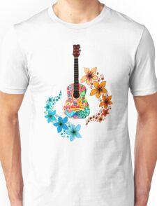 Floral Acoustic Guitar Unisex T-Shirt