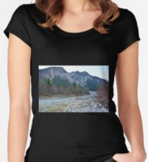 Winter Landscape Near Tolmezzo Women's Fitted Scoop T-Shirt