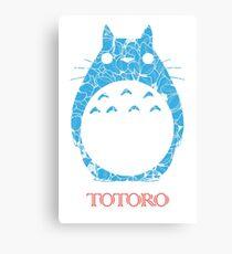Blue Floral Cute Totoro Canvas Print