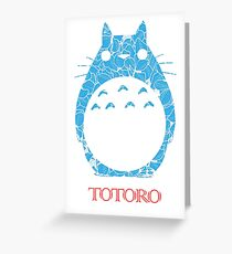 Blue Floral Cute Totoro Greeting Card