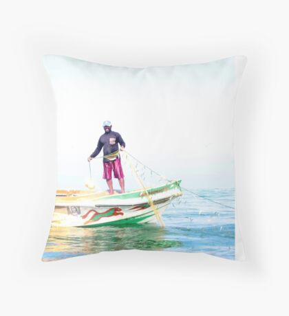 Fishing for sardines Throw Pillow