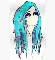 Blue Hair Emo Girl  Poster