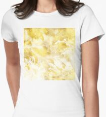 Golden Marble I gold and white abstract art T-Shirt