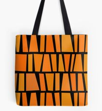 African Inspired Orange Domino Tribal Pattern Tote Bag