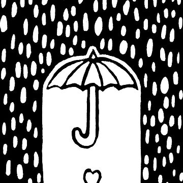 Heart flower under umbrella in the rain (from lino print) by andreawillette