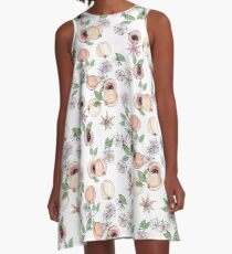 Watercolor seamless pattern with apricots and blooming flowers A-Line Dress