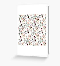 Watercolor seamless pattern with apricots and blooming flowers Greeting Card
