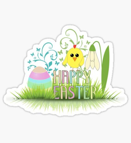 Happy Easter Egg, Chick and Snowdrop Sticker