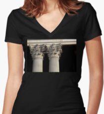 Corinthian Columns. Women's Fitted V-Neck T-Shirt