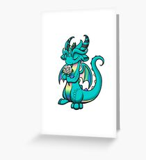 Pastel Rainbow Dragon with Rose Greeting Card