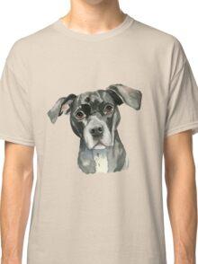 Black Pit Bull Dog Watercolor Portrait Classic T-Shirt