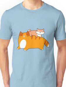 Orange Tabby and Shiba Pup Unisex T-Shirt