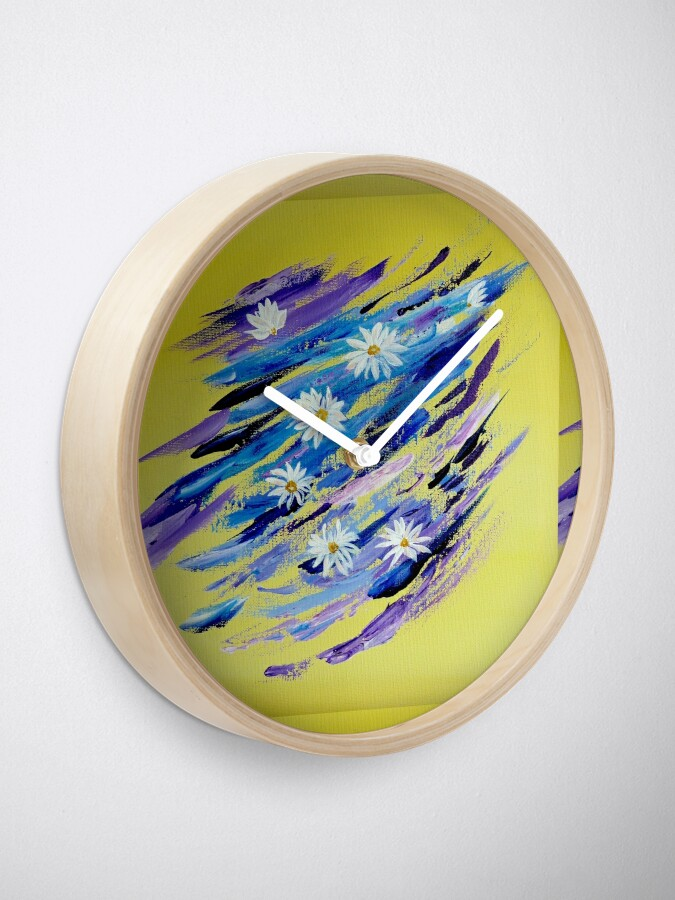 Alternate view of White daisies Clock