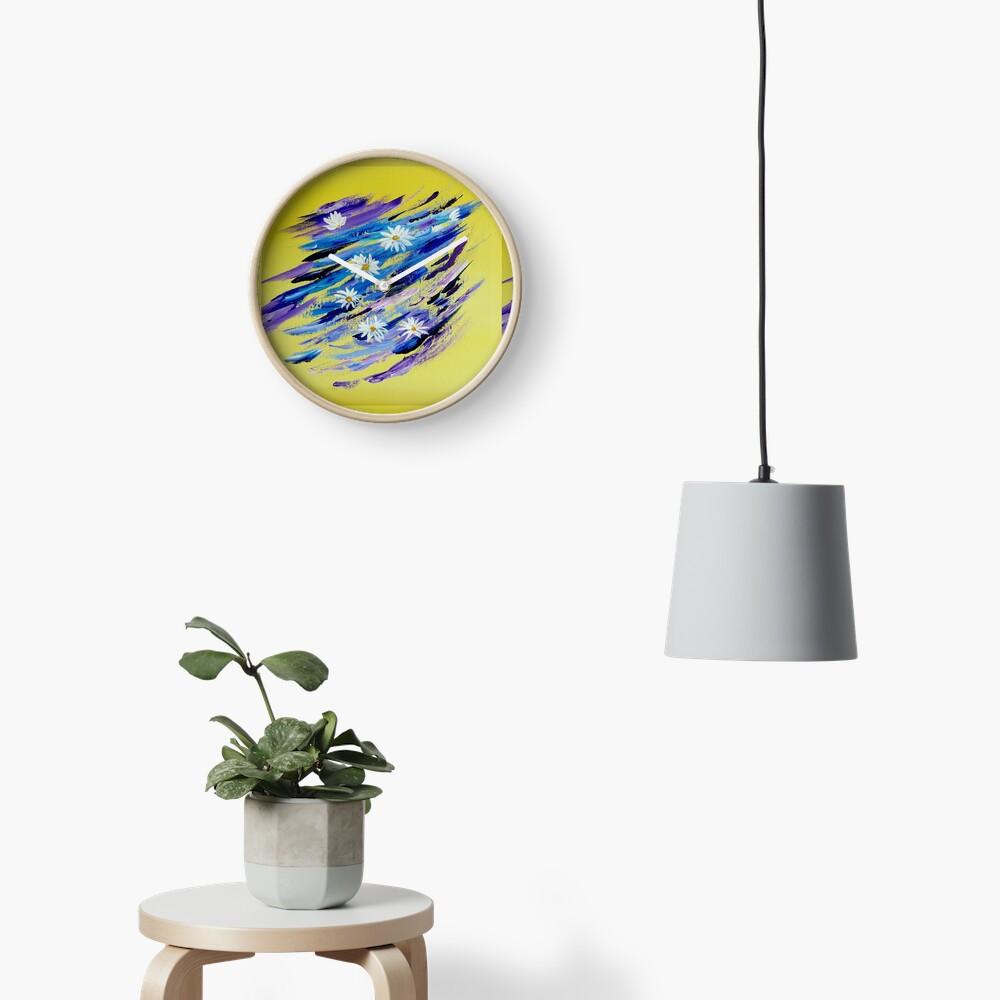 White daisies Clock