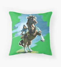 Link and Epona Breath of the Wild Throw Pillow