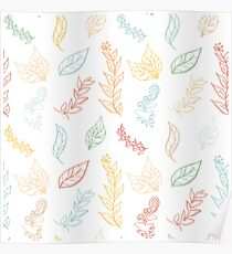 Seamless colorful pattern with leaves in vintage style. Poster