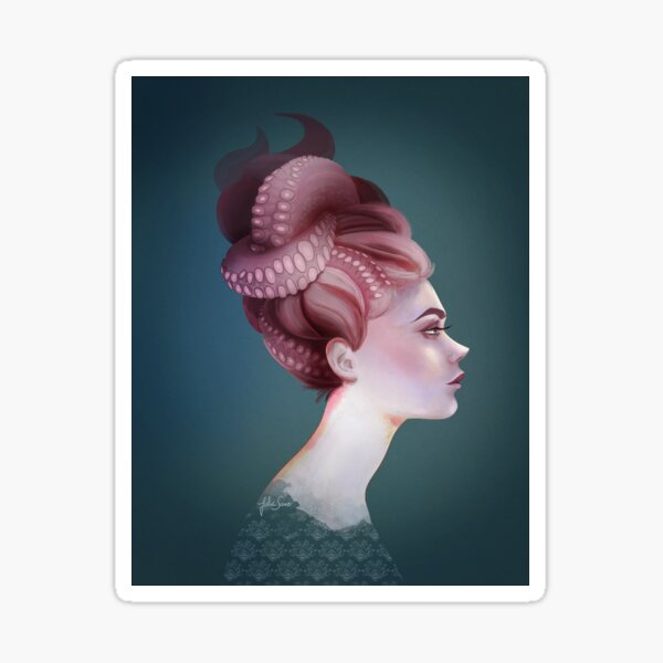 Tentacles never go out of fashion by Julia Sanz Pegatina