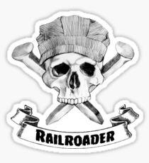 Railroader Skull and Spikes Crossbones Sticker