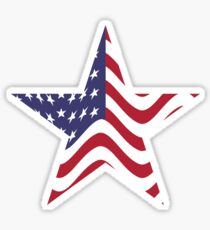 USA star with waves flag Sticker