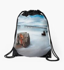 Abandoned Piers, Hartlepool Drawstring Bag