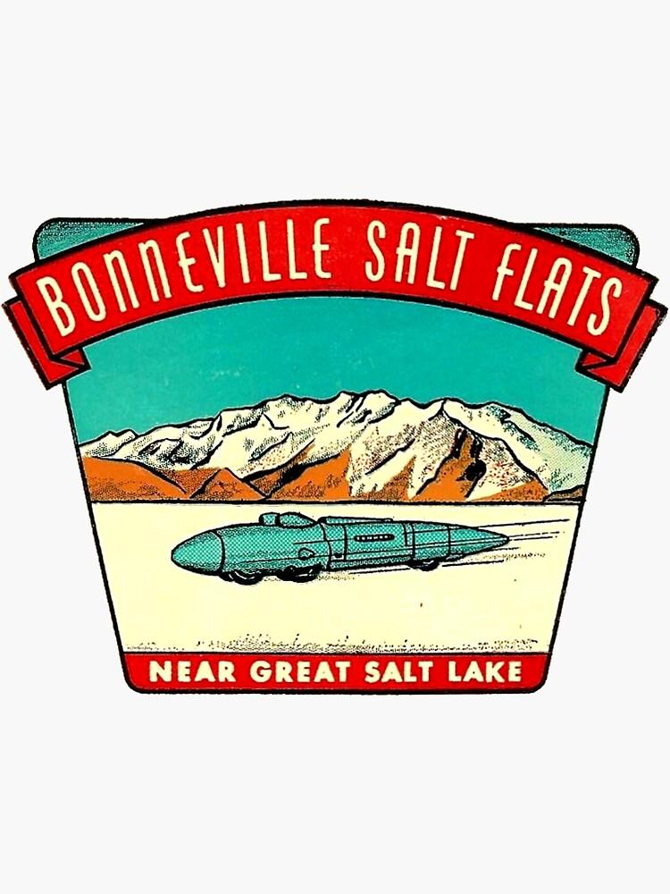 Bonneville Salt Flats Utah Vintage Travel Decal by hilda74