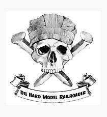 Die Hard Model Railroader Skull and Spikes Crossbones Photographic Print