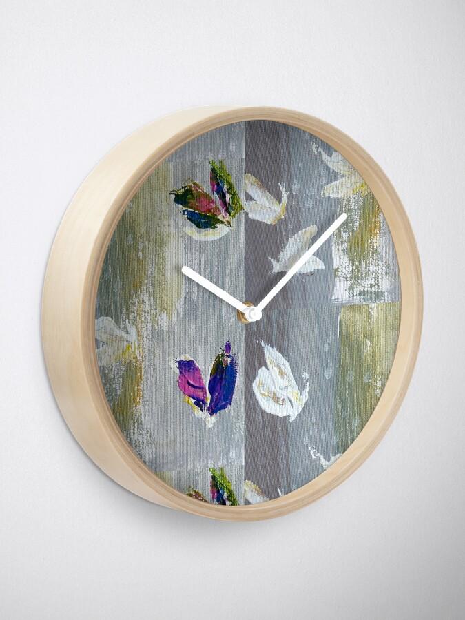 Alternate view of Beautiful butterflies.Impressionism Clock
