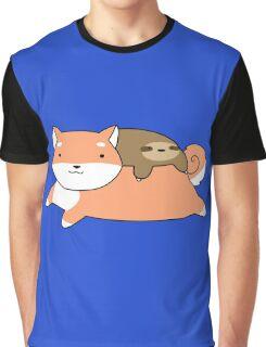 Shiba and Little Sloth Graphic T-Shirt