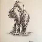 Little Elephant - ink wash painting by Rebecca Rees